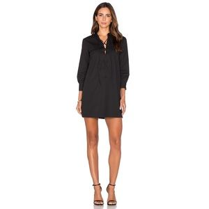 Theory Jullitah Dress Lace Up Black Long Sleeve 0